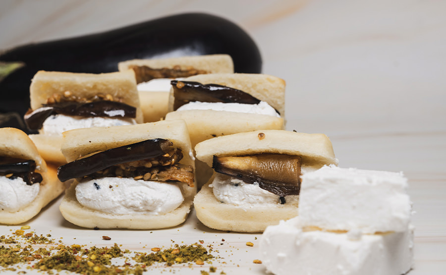 Square White Bread With Eggplant & Feta Cheese (12 pieces)